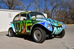 Love Bug Volkswagon car. JEROME, ARIZONA, January, 30, 2018: The 1960`s old Love Bug car is a product of Volkswagen Group, one of the world`s largest car Royalty Free Stock Photos