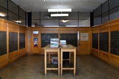 Jerome, Arizona post office. JEROME, ARIZONA, January 30, 2018: Inside the United States Post Office of Jerome, Arizona with individual lock boxes for each royalty free stock photos