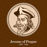 """Jerome av Prague †1379 """"1416 var en tjeckisk skolastisk filosof, teolog, världsförbättrare och professor Jerome var en av chien stock illustrationer"""