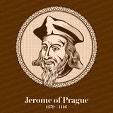 Jerome del †1379 di Praga «1416 era un filosofo, un teologo, un riformatore e un professore scolastici cechi Jerome era uno del illustrazione di stock