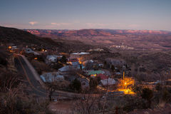 Jerome at Dusk. Jerome on a winter's evening overlooking the town, toward Humphrey's Peak and Cottonwood in Arizona, USA Stock Image