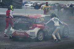 Jerome Grossset Janin na ogieniu Barcelona FIA świat Rallycross Obraz Royalty Free