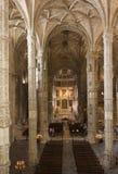 Jeronimos修道院的教会内部 库存图片