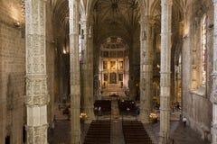Jeronimos修道院的教会内部 免版税库存照片