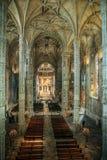 Jeronimos修道院的晚哥特式Manueline样式内部,里斯本 图库摄影