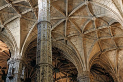 Jeronimos ceiling. Lisbon, Portugal - March 5, 2014: Ceiling details of the Jeronimos Monastery Stock Photos