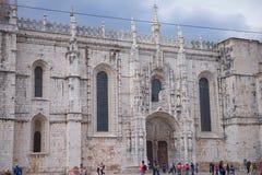 Jeronimos kloster i Lissabon - tillträde arkivbild