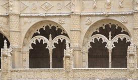 Jeronimos monasteru szczegółu okno, Lisbon, Portugalia Zdjęcia Stock