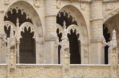 Jeronimos monasteru szczegółu okno, Lisbon, Portugalia Fotografia Stock