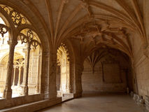 Jeronimos Monastery Cloister arcade corner. Under an arcade of Hieronymites Monastery (Mosteiro dos Jerónimos) Cloister in Belém, Lisbon, Portugal. UNESCO Royalty Free Stock Image