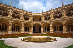Jeronimos Monastery Cloister center Stock Photo