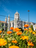 Jeronimos Monastery with flowers Royalty Free Stock Photography