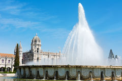 Jeronimos Monastery and Fountain Lisbon Portugal Stock Photos