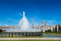 Jeronimos Monastery and Fountain Lisbon Portugal Stock Photo