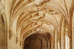 Jeronimos monastery in Lisbon, Portugal. Interior of Jeronimos monastery in Belem, Lisbon, Portugal. Manueline style. UNESCO World Heritage Royalty Free Stock Photos