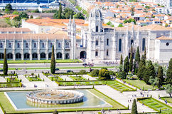 Jeronimos Monastery or Mosteiro dos Jerónimos. Designed in Portuguese late-Gothic style, this spectacular religious complex consists of a church and a convent Royalty Free Stock Photos