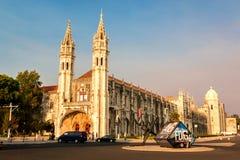 Jeronimosklooster in Belem, Lissabon, Portugal stock foto's
