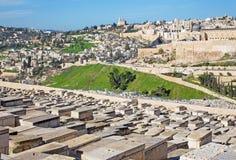 Jerozolima - światopogląd od góry oliwki miasta direstion Dromition abbe fotografia royalty free