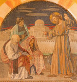 Jerozolima, Jezus wśród pisarczyków - Mozaika na chorze Ewangelicki Luterański kościół wniebowstąpienie Zdjęcia Royalty Free