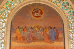 Jerozolima - Ostatnia kolacja Mozaika w kościół St Peter w Gallicantu zdjęcia royalty free