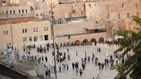 Jerozolima, western ściana i kopuła skała, Izrael flaga, ogólny plan, timelapse zdjęcie wideo