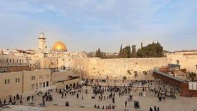 Jerozolima, western ściana i kopuła skała, Izrael flaga, ogólny plan, timelapse zbiory