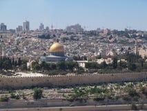 Jerozolimska linia horyzontu, kopuła na skale widocznej Zdjęcie Stock