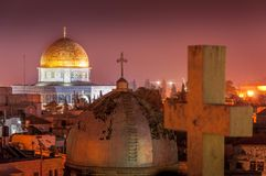 Jerozolimski Stary miasto i Świątynna góra przy nocą, Izrael zdjęcie royalty free