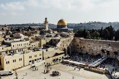 Jerozolimski western ściany widok, Aksa meczet Obrazy Royalty Free