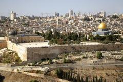 JEROZOLIMSKIEGO widoku miasta stara kopuła skała Obrazy Royalty Free