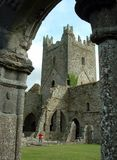 Jerpoint Abbey. Sight of Jerpoint Abbey's tower from the cloister royalty free stock image