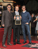 Jerry Bruckheimer & Johnny Depp & Tom Cruise. LOS ANGELES, CA - JUNE 24, 2013: Producer Jerry Bruckheimer with Johnny Depp & Tom Cruise on Hollywood Boulevard Stock Photography