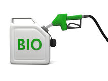 Jerry can with bio fuel. 3D illustration of filling jerry can with bio fuel  on white background Stock Photography