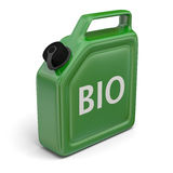 Jerry can with bio fuel. 3D illustration of green jerry can with bio sign  on white background Stock Photos