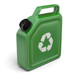 Jerry can with recycling sign. 3D illustration of green jerry can with bio sign  on white background Royalty Free Stock Image