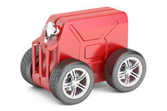 Jerry can with wheels, technical assistance concept. 3D renderin. G on white background Stock Images