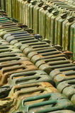 Jerry cans. Stockpile of old military fuel jerry cans Stock Image