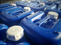 Jerry cans plastics and paletized Stock Images