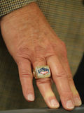 Jerry Colangelo director of USA Basketball wears USA 2012 Olympic Champions ring Rio 2016 Olympic Games. RIO DE JANEIRO, BRAZIL - AUGUST 10, 2016: Jerry Stock Image
