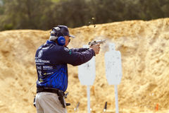 Jerry Miculek speed shooting Royalty Free Stock Images