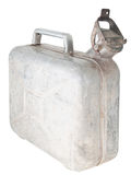 Jerrycan. Old Aluminium canister. On a white background stock photos