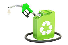 Jerrycan with bio fuel and gas pump nozzle, 3D rendering Royalty Free Stock Photos