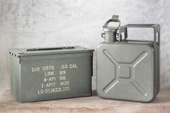 Jerrycan with bullet box Royalty Free Stock Image