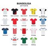 Jerséis de Bundesliga 2017-2018, iconos alemanes de la liga de fútbol Imagen de archivo