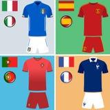 Jerséis del fútbol de Europa Foto de archivo libre de regalías