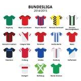 Jerséis 2014 - 2015, iconos alemanes de Bundesliga de la liga de fútbol Fotografía de archivo