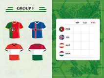 Jersey футбола и кнопка футбола европейских футбольных команд Стоковое фото RF