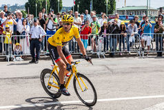 Jersey amarilla Cancellara fabiano Foto de archivo