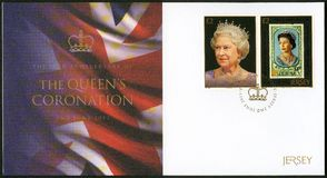 JERSEY - 2013: shows Queen Elizabeth II, series 60th Anniversary Of The Queen`s Coronation royalty free stock images