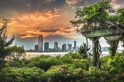 Jersey City, Гудзон, остров Манхаттана Стоковые Изображения RF